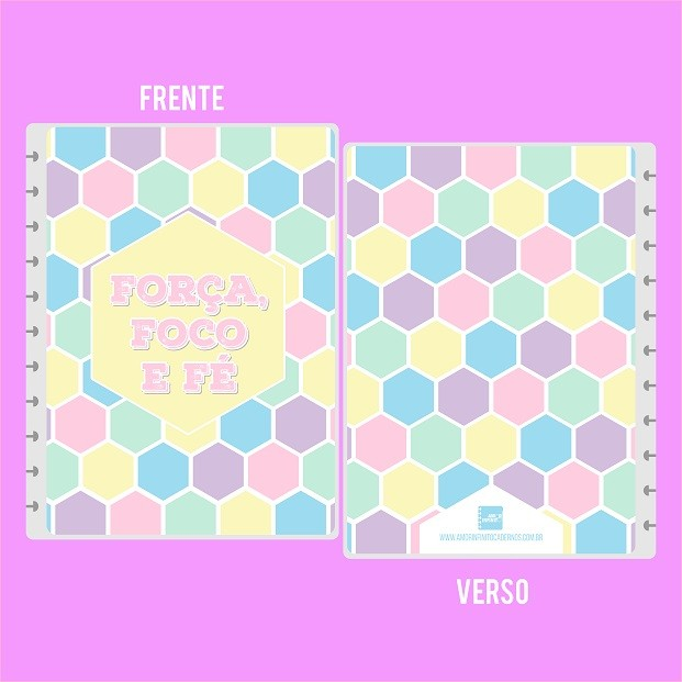 Capa de Caderno de Disco em Polaseal  -  Força, foco e fé