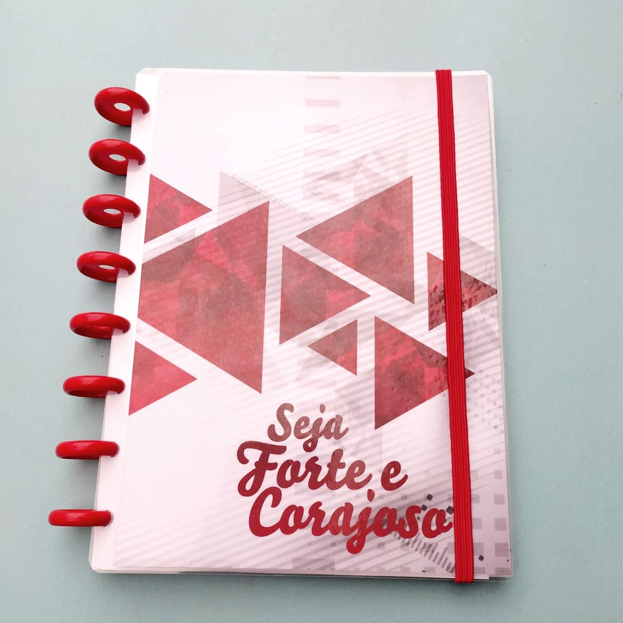 Capa de Caderno de Disco em Polaseal  -  Seja Forte e Corajoso - 06