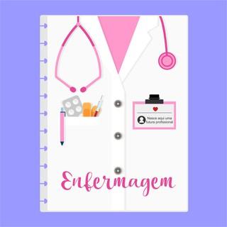Capa de caderno de disco infinito em polaseal - Sistema inteligente - Profissões - Enfermagem