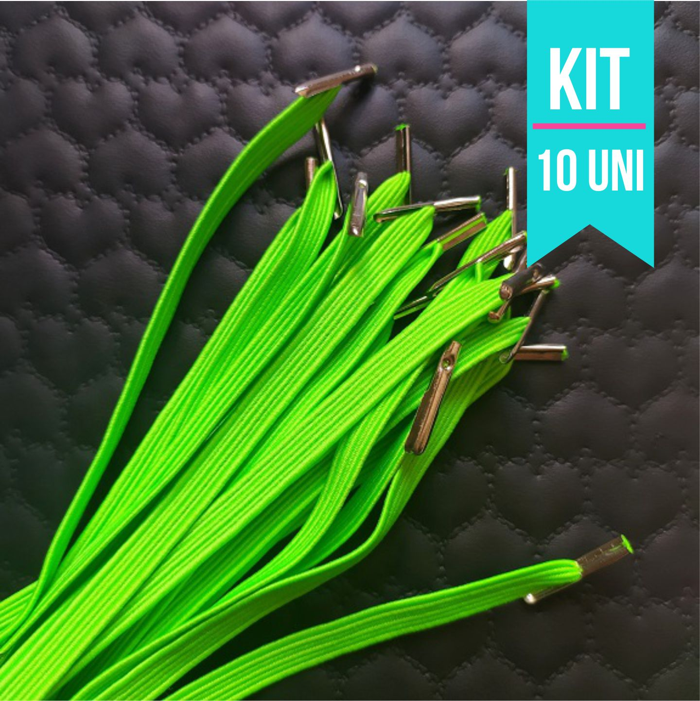 Kit 10 Elásticos  para caderno de Disco  Infinito Sistema Inteligente -30cm com Acabamento de metal
