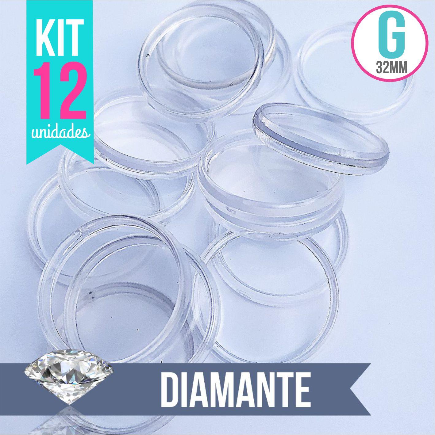 Kit 12 Discos G 32mm de Caderno Infinito Sistema Inteligente Translúcido Liso Amor Infinito - Diamante