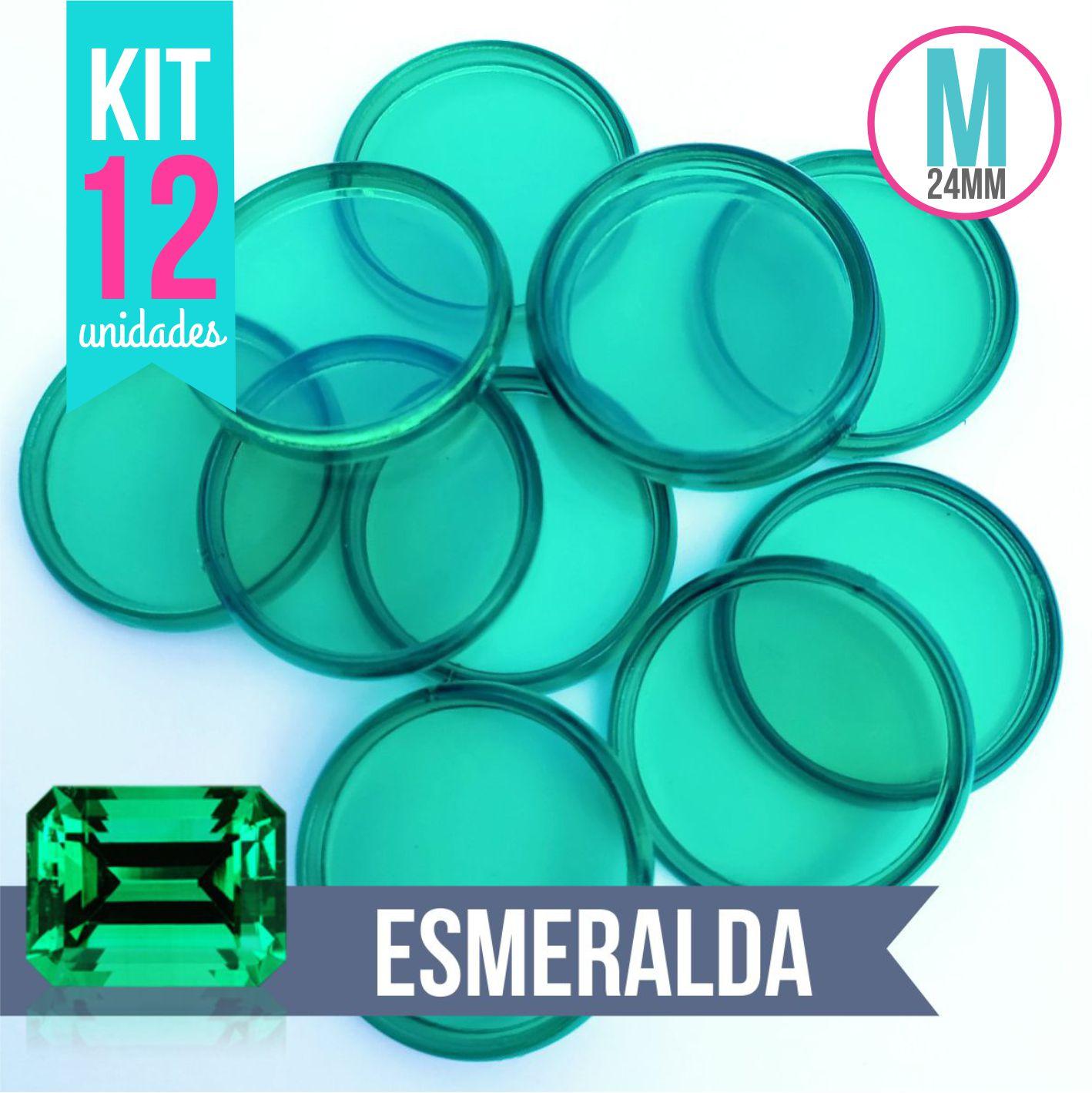 Kit 12 Discos M 24mm de Caderno Infinito Sistema Inteligente Translúcido Liso Amor Infinito - Esmeralda