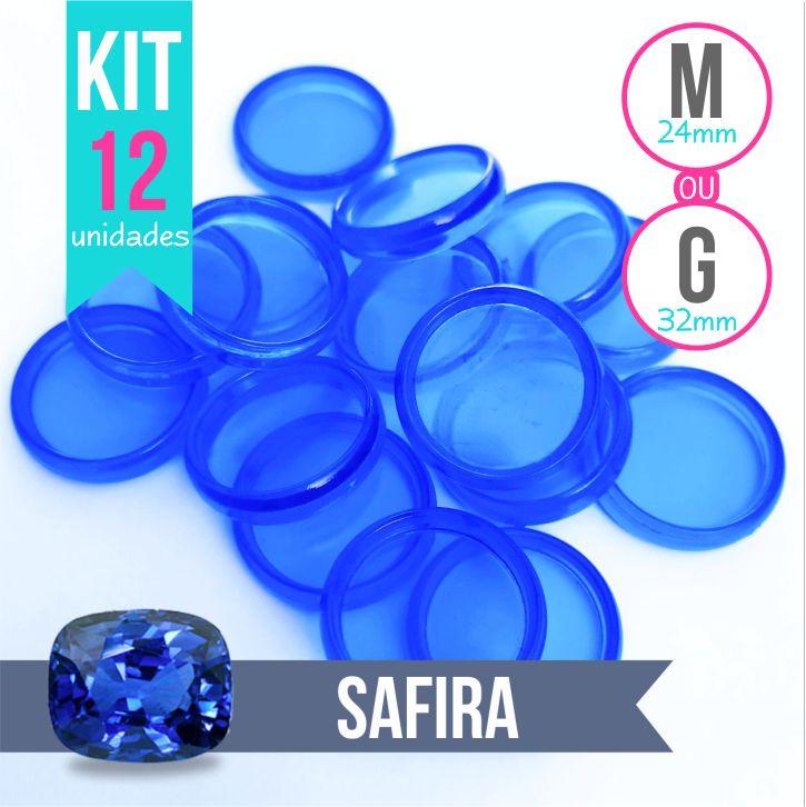 Kit 12 Discos M 24mm ou G 32mm de Caderno Infinito Sistema Inteligente Translúcido Liso Amor Infinito - Safira - Azul Royal