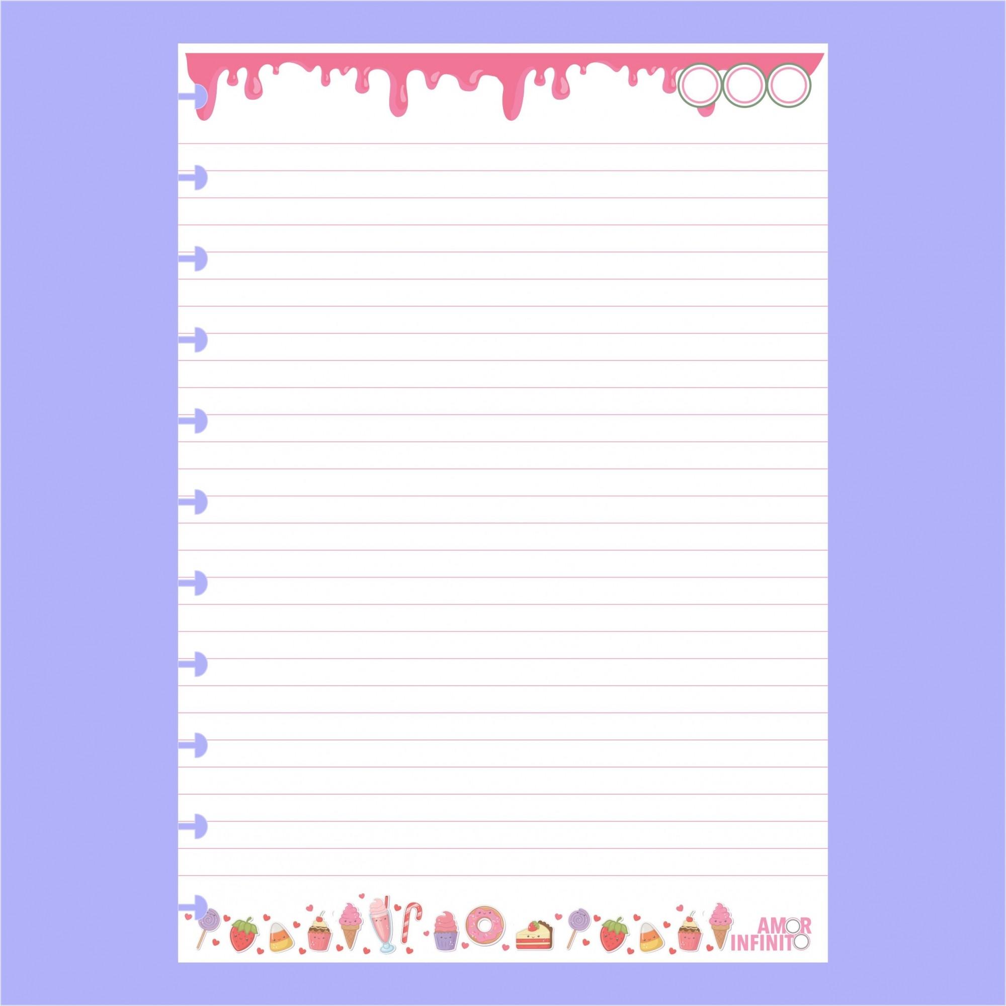 Refil de folhas Para Cadernos de Disco Sistema Inteligente - Candy
