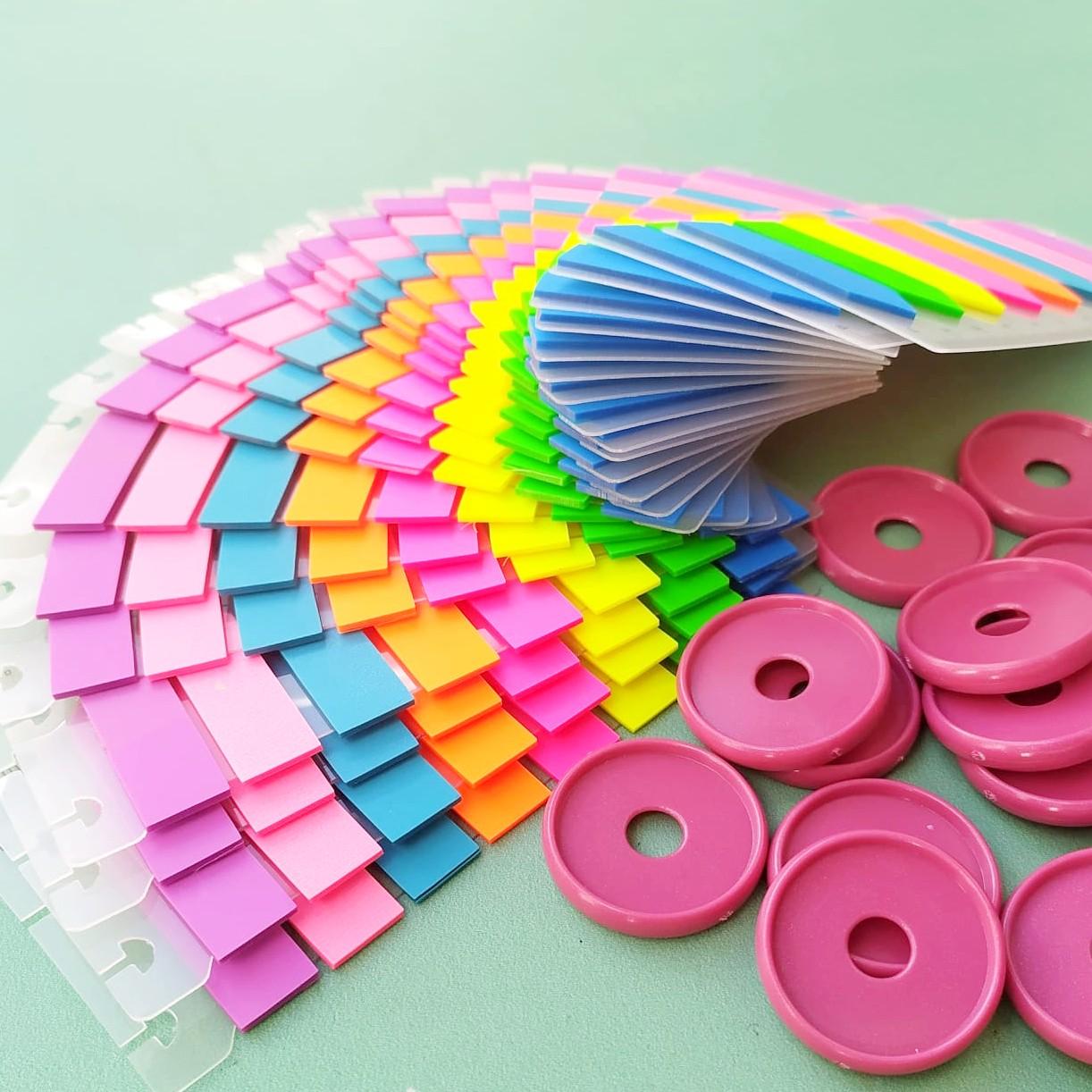Régua com marcador de página Com Furo Para Caderno de Disco - 8 cores de flags