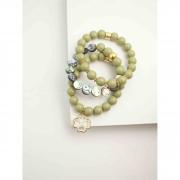 Trio de pulseiras de bola de resina e pedra abalone