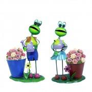 2 Bonecos de Ferro Sapo de Enfeitar Casal Decorar Jardim Flores