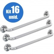 Alça Apoio Banheiro Inox 40cm Barra Idoso Cadeirante Kit 16 un