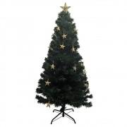 Arvore de Natal Fibra otica 1 metro 20 cm Natalino Branco Quente Decoração Estrela Led 150 Galhos