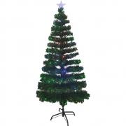 Arvore de Natal Fibra Otica LED Natalino 125 Galhos Topo Estrela 1 metro e 50 cm