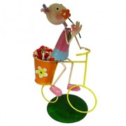 Boneca Porquinha com Bicicleta de Ferro Para Enfeite e Decoraçao de Jardim
