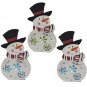 Boneco de Neve Natalino Kit 3 uni Enfeite Led Colorido Natal Trabalho Mesa Casa Arvore