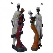 Bonecos Casal Africano Mini de Resina Enfeite Decorativa Decoracao (8033)