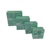 Caixa de Presente Surpresa Rigida Com tampa Texturizada Laço Conjunto kit 4 caixas Aniversario