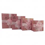 Caixa Presente Rigida Com tampa Texturizada Laço Conjunto 4 caixas Aniversário Surpresa Evento