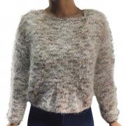Casaco Cropped Blusa Feminino Beleza Frio Manga Longa Felpuda Pelinhos Inverno