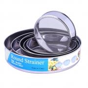 Conjunto de Peneiras e Coador Para Bolos E Sucos 6 Peças Em Formas Redondas Em Aço Inox Para Cozinha E Culinária