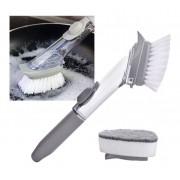 Escova de Limpeza 2 em 1 Dispenser Detergente Esponja Limpa Cozinha Louça kit com 9