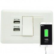 Interruptor Duplo 2 Portas USB Celular Adaptador Parede