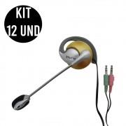 Kit 12 Unidades Fone de ouvido com microfone P2 Home Office Computador Notebook Jogos Wathsapp Headset