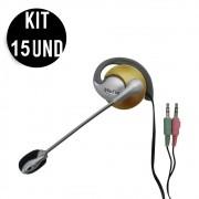 Kit 15 Unidades Fone de ouvido com microfone Office P2 Home Computador Notebook Jogos Wathsapp Headset