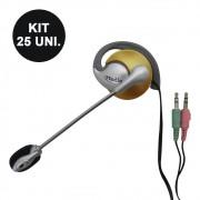 Kit 25 Uni. Fone de ouvido com microfone P2 Home Office Computador Notebook Jogos Wathsapp Headset