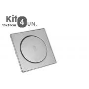 Kit 4 Ralos Click Inteligente Aço Inox Pop Up Banheiro Lavabo Casa 15x15