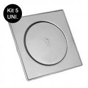 Kit 5 Ralos Click Inteligente Aço Inox Clic 10x10 Banheiro