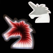 Luminaria 3D Infinito Espelho Led Unicornio Luz Profundidade Quarto (QZ3804)