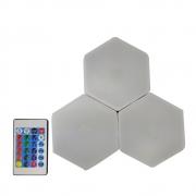 Luminaria Hexagonal Controle Remoto 3 unidades RGB Led Colorido Decoraçao Casa Quartos