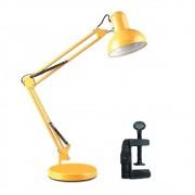 Luminaria Mesa Articulada garra Escritorio regulavel 2 em 1 Leitura Base metal Articulavel amarela