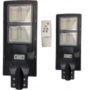 Luminaria Solar 240w Led Poste 2 Unidades Rua Sensor Controle Refletor Jardins Iluminaçao Externa