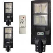 Luminaria Solar 240w Led Poste 3 Unidades Rua Sensor Controle Refletor Jardins Iluminaçao Externa