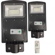 Luminaria Solar Poste 60w Led Rua Kit 2 Und Controle e Sensor de Movimento Jardins Areas Externas Iluminaçao