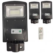 Luminaria Solar Poste 60w Led Rua Kit 3 Und Controle e Sensor de Movimento Jardins Areas Externas Iluminaçao