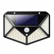 Luminaria Solar Sensor de Movimento Branco Quente Presença Parede 100 LED 3 Funçoes Lampada Prova d'Agua Iluminaçao
