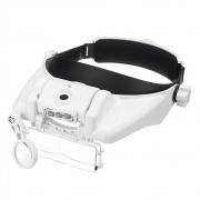 Lupa de cabeça Oculos Aumento Precisão 3 lentes led ajustavel Profissional Iiluminação