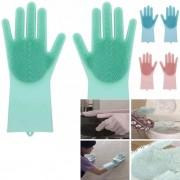 Luva Magica Par Escova de Limpeza Silicone Lava Loucas Banho Caes Resistente (BSL-LIMP-4)