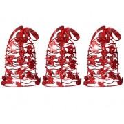 Mini Sino de Natal Vermelho Decoracao Natalino Kit com 3 Unidades (NA-12 Mini Sino de Natal Vermelho)