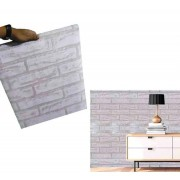 Papel De Parede Tijolinho Pedra Branca Autoadesivo Fosco Vinil Lavavel (BSL-42079-1-B)
