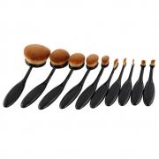 Pincel Maquiagem Oval Kit 10 Peças Escova Flexivel Profissional Contorno Base Liquidos Creme Corretivo