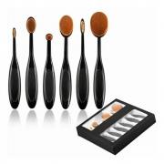 Pincel Maquiagem Oval Kit 5 Peças Escova Flexivel Profissional Contorno Base Liquidos Creme Corretivo