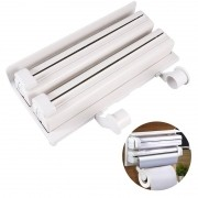 Porta Rolo Triplo Aluminio Filme Papel Toalha Dispenser Cozinha