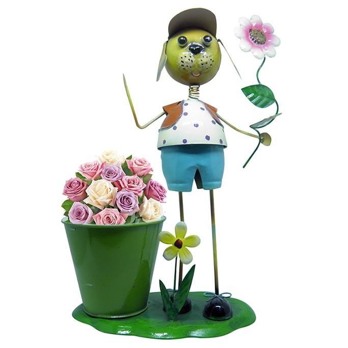 2 Bonecos Casal Decorativo De Ferro Flor Para Enfeitar Casa Jardim