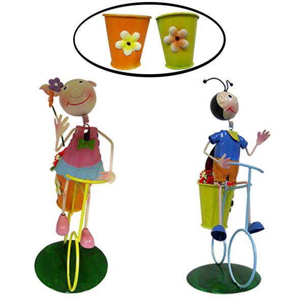 2 Bonecos de Enfeite Joaninha Porquinha com Bike Flores Jardim