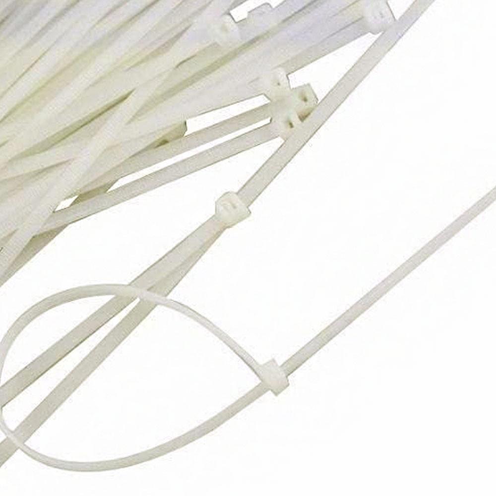 Abraçadeira de Nylon 100 Uni Enforca Gato Cinta Plastica Branco 140mm x 3.5mm