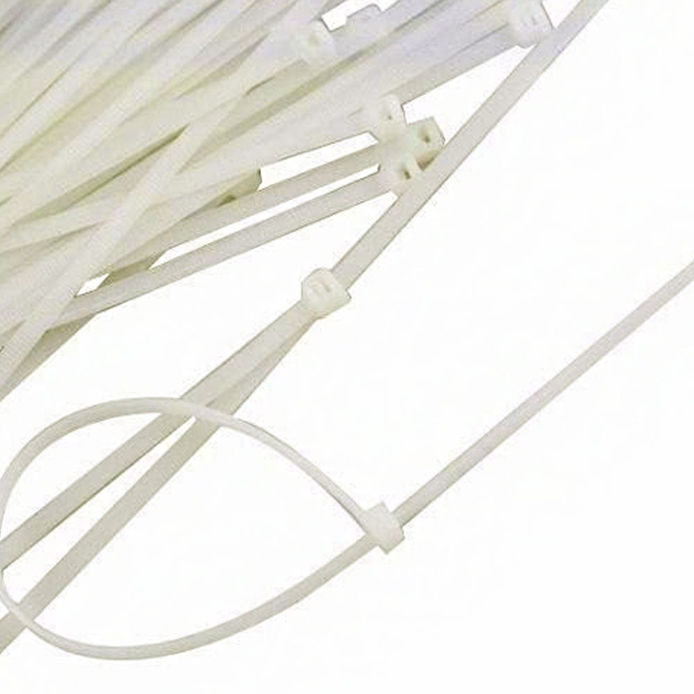 Abraçadeira de Nylon 100 Uni Enforca Gato Cinta Plastica Branco 200mm x 2.5mm