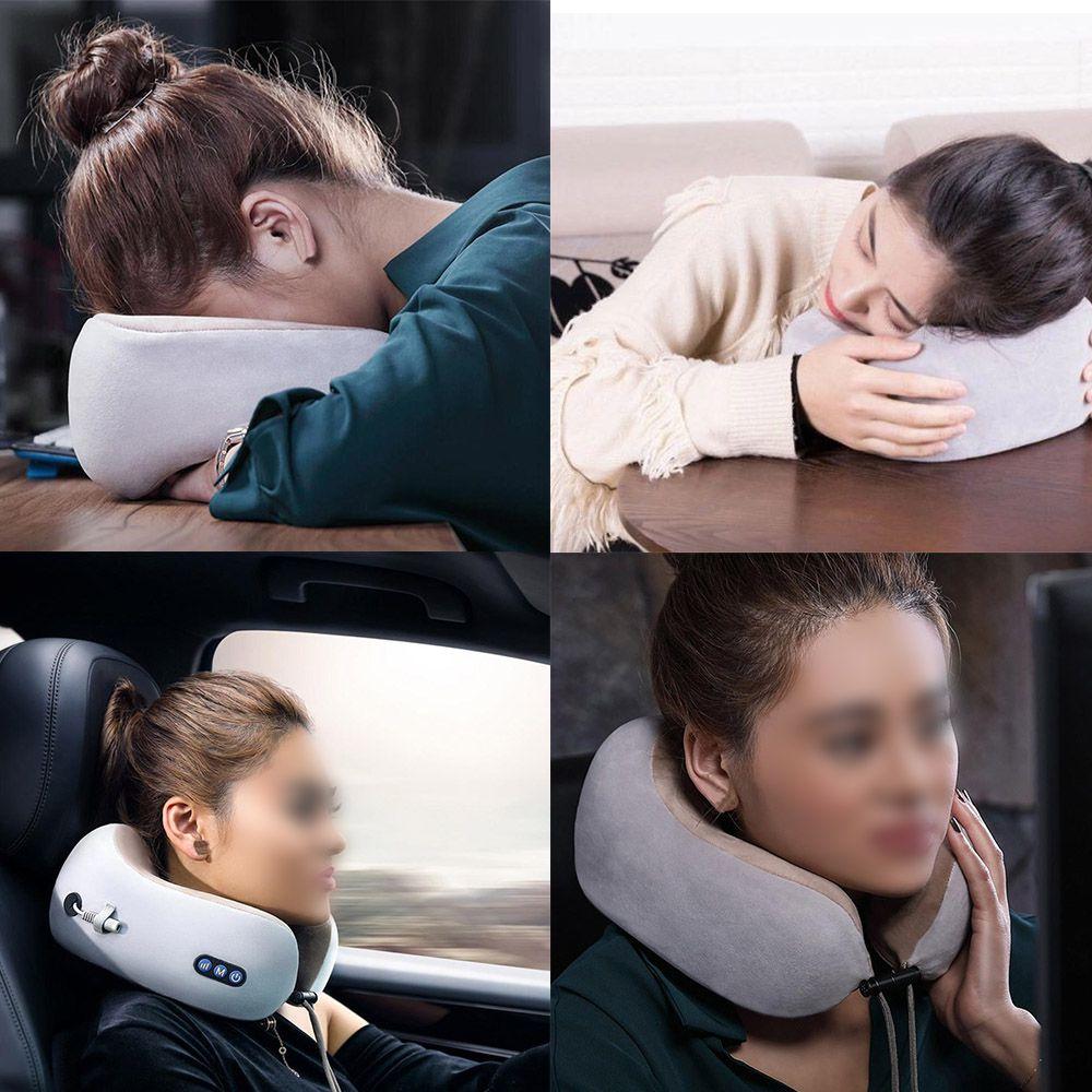 Almofada Massageador Pescoço Massagem Bateria USB Relaxante Anti Estresse