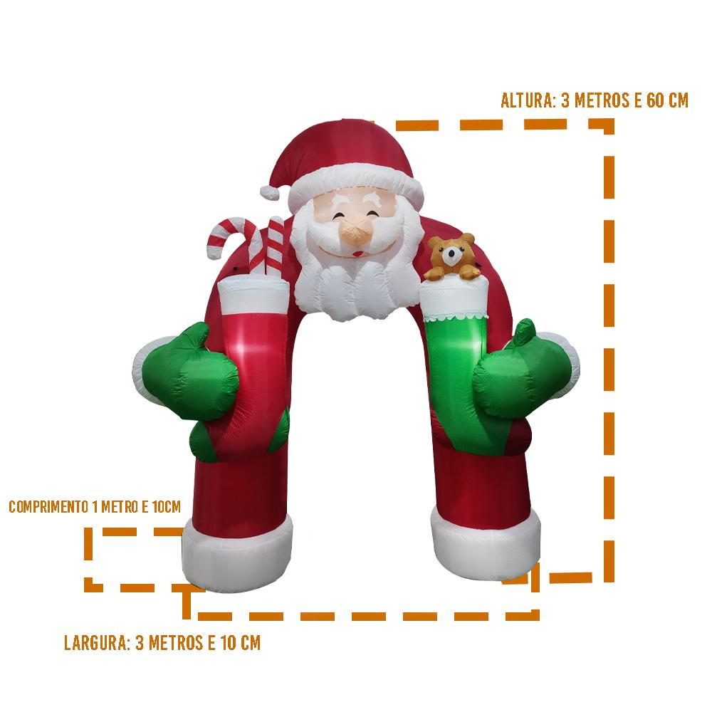 Arco Inflavel de Natal Gigante 3 Metros e 60 cm Papai Noel Natalino Led Enfeite Portal Empresa Comercio