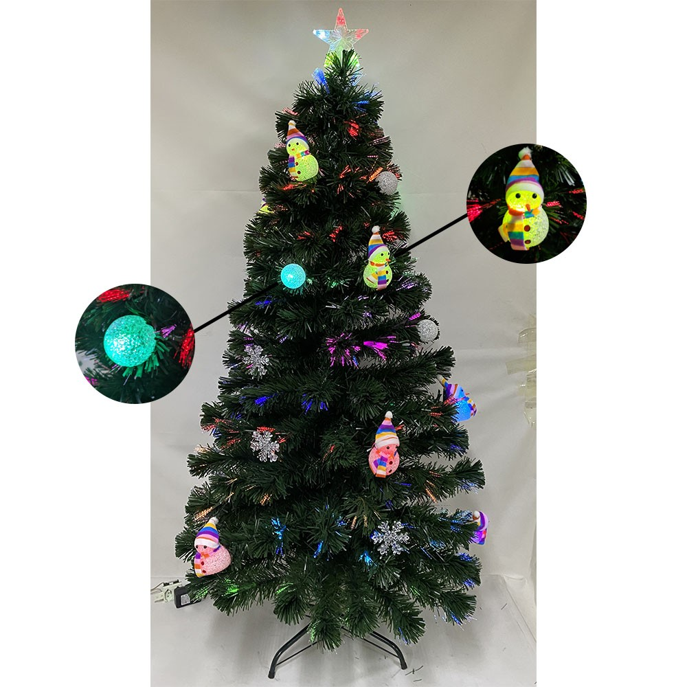 Arvore de Natal Fibra Ótica Natalino 1 metro 20cm Decoração Estrela Led Colorido 125 Galhos